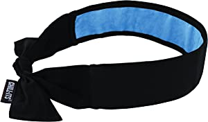 Cooling Bandana, Black, Lined with Evaporative PVA Material for Fast Cooling Relief, Tie for Adjustable Fit, Ergodyne 6700CT