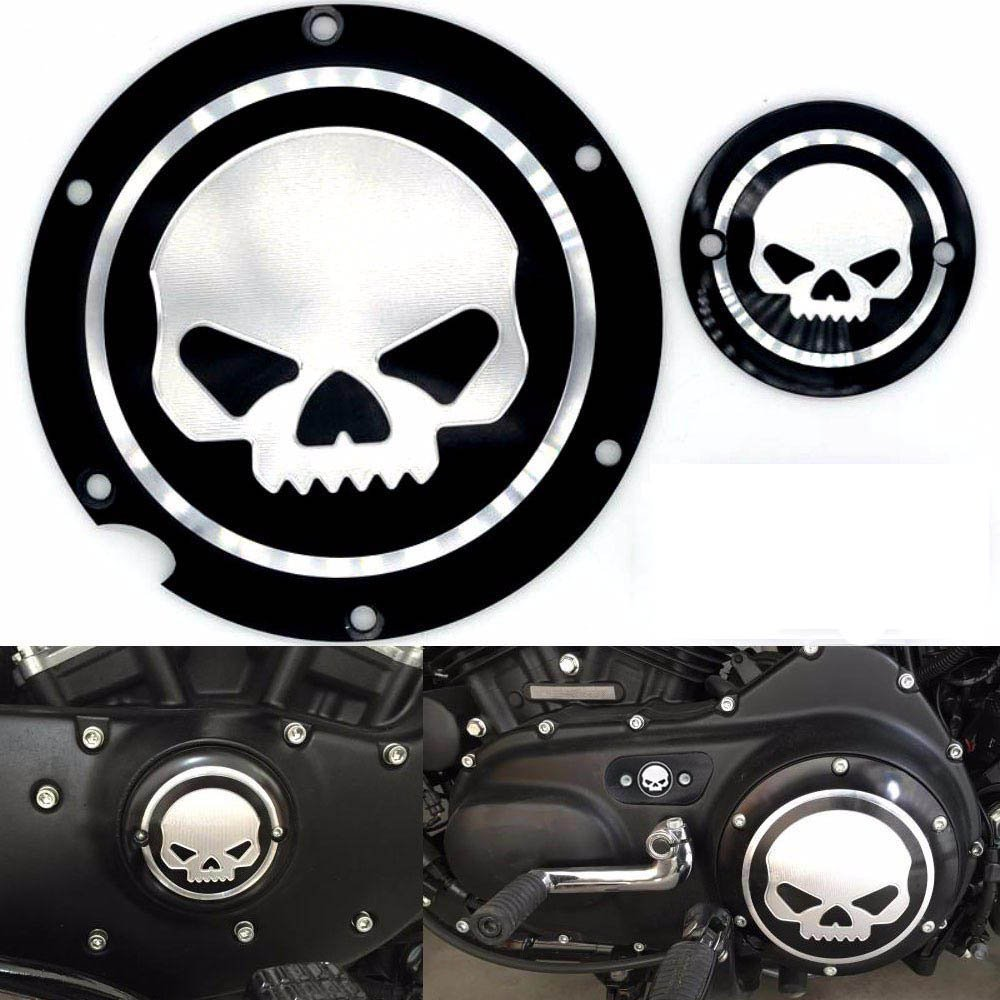 Frenshion Motorcycle Skull Black Timing Accessories Derby Timer Cover For Harley Sportster Iron XL 883 1200 04-14 (2pc of 1 package)