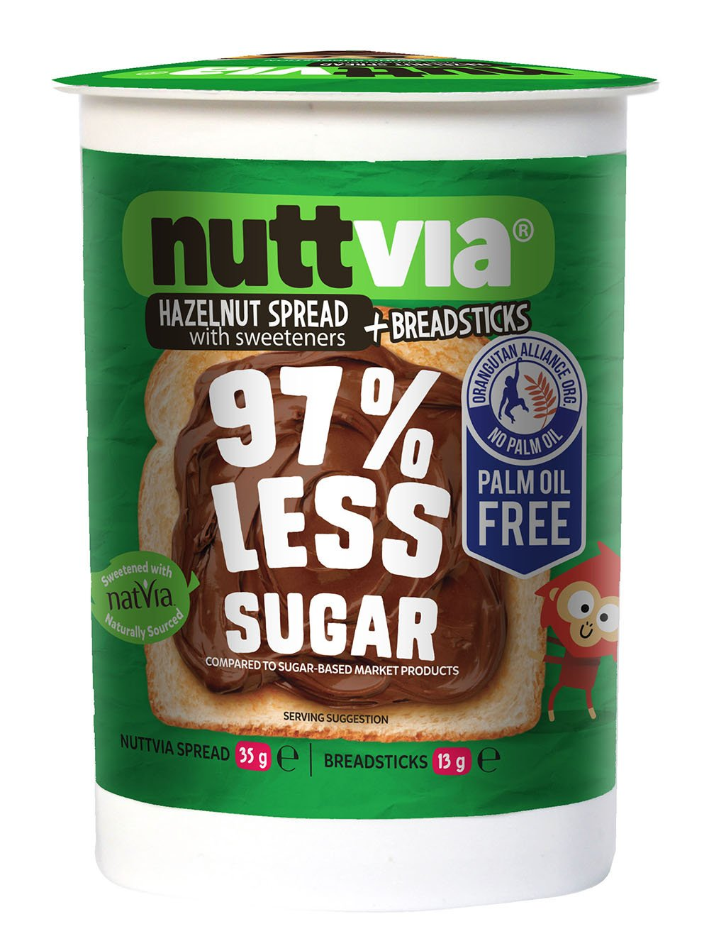 Nuttvia Chocolate and Hazelnut Spread & Breadsticks Snack Pack – Delicious & Palm Oil Free with Natural Sweeteners – 97% Less Sugar (48g)