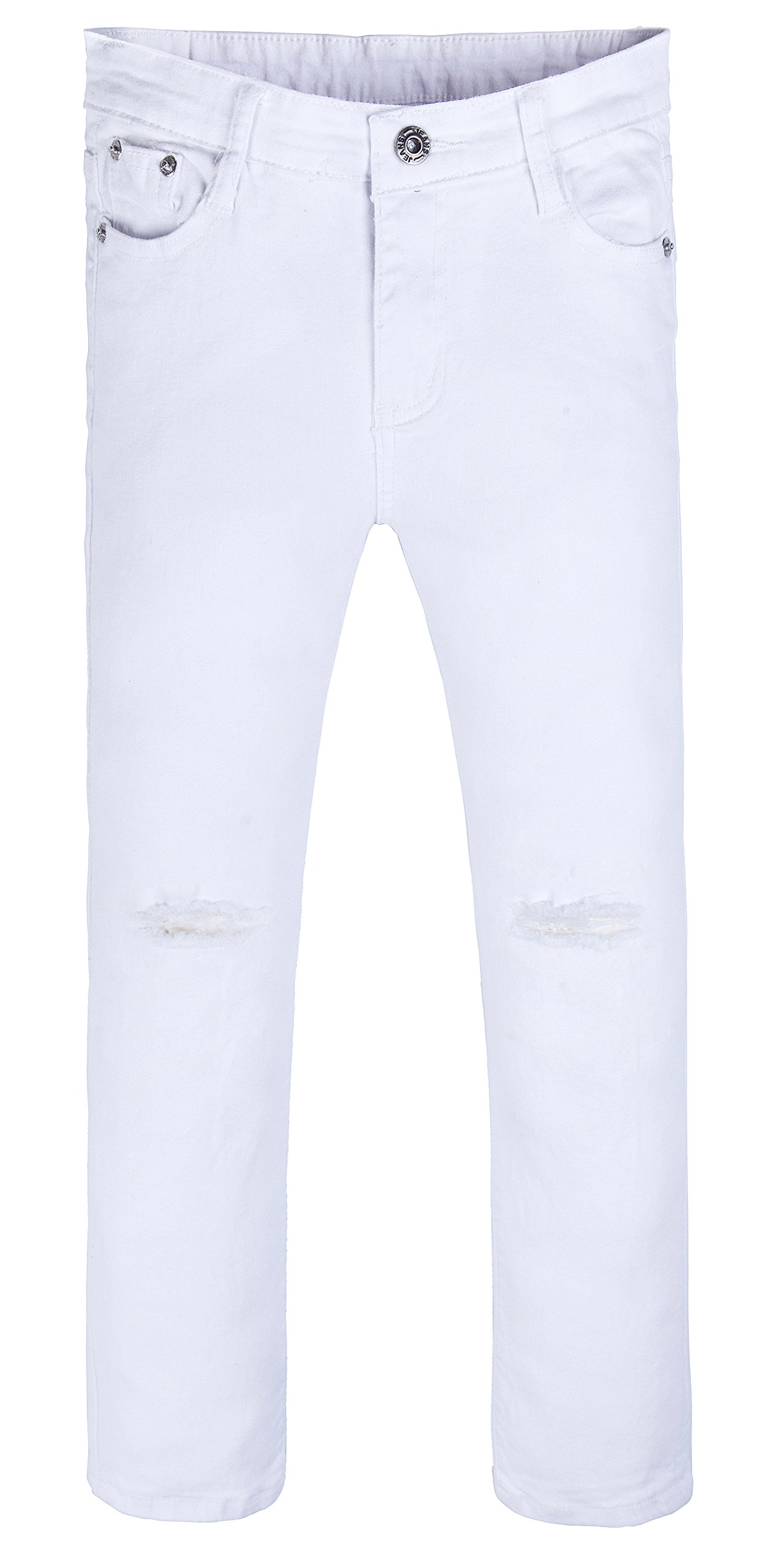 Girls Fashion Skinny Fit Jeans Distressed Ripped Hole Denim Pants White 12t