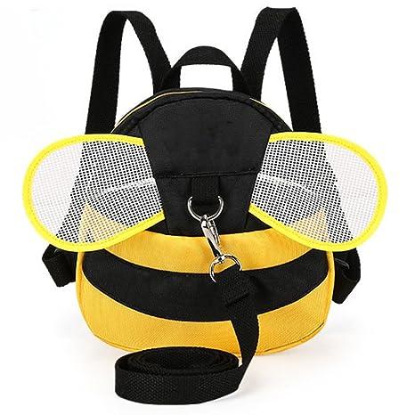 Mochila para niños con correas y diseño de abeja con alas,