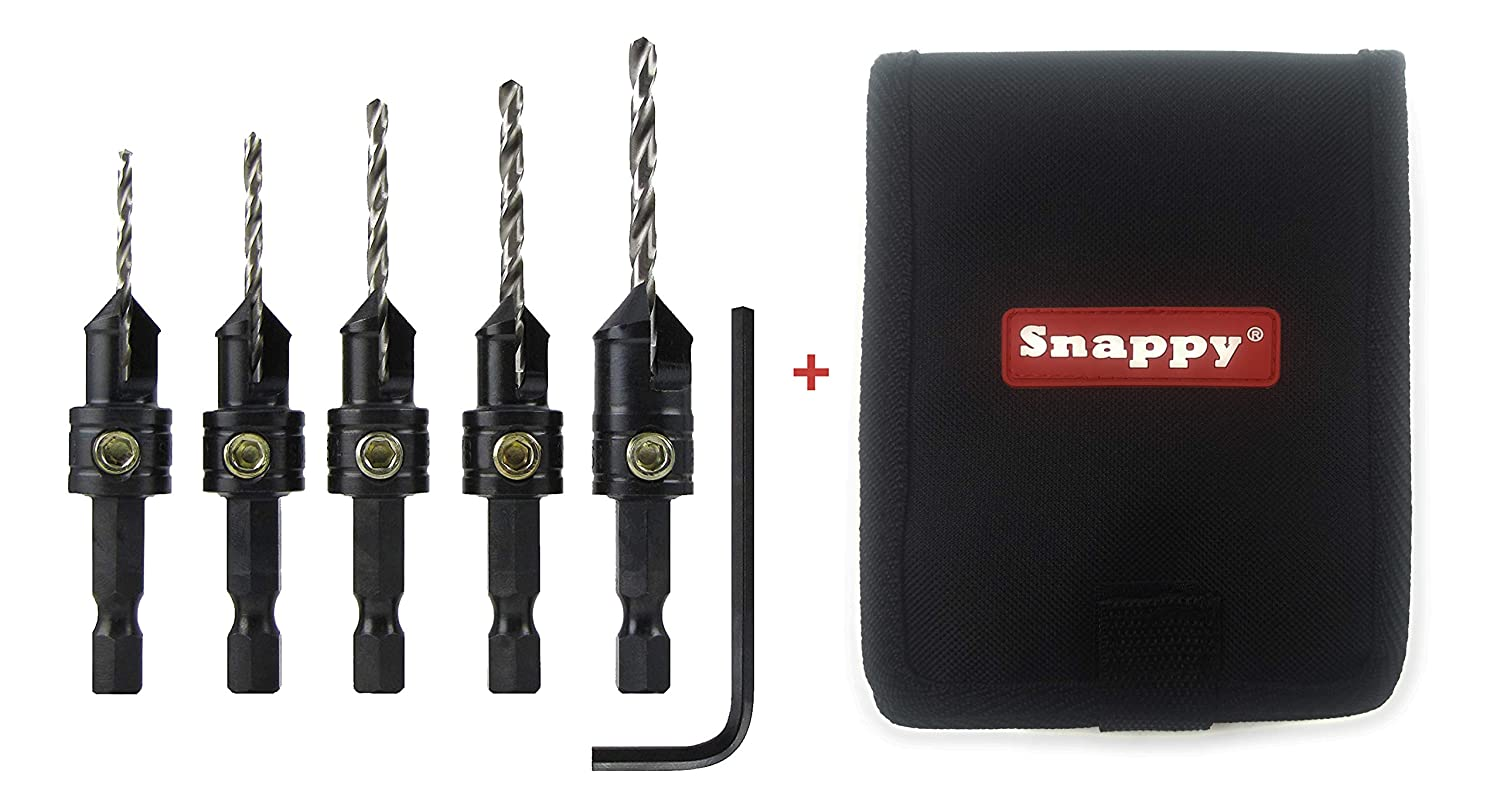 Snappy Brand Quick-Change 5-Pc. Countersink Drill Bit Set with Case. Proudly Made in The USA Snappy Tools