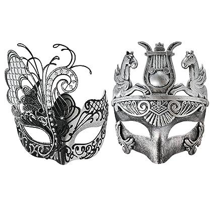 Amazon.com: Silver/Black Flying Butterfly Women Mask & Silver Roman ...