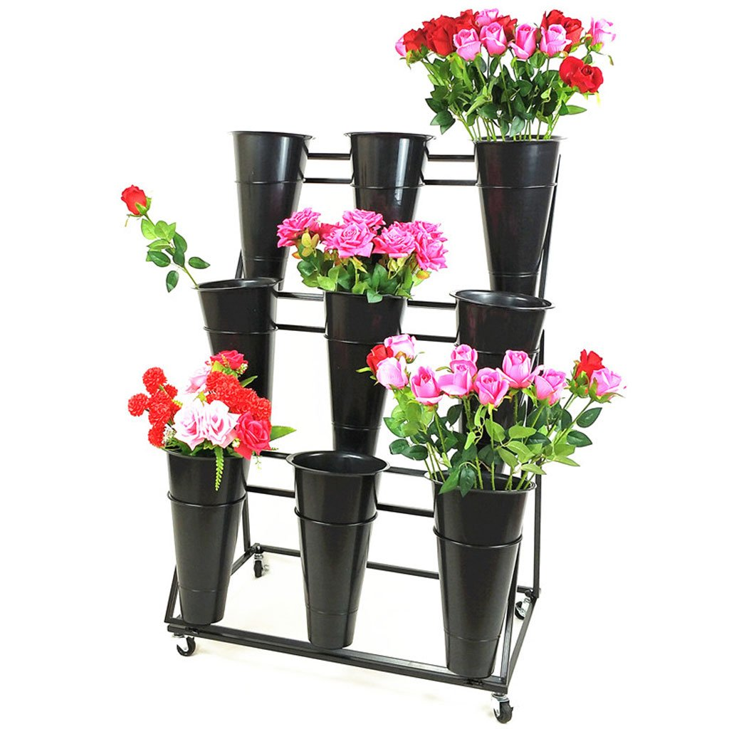 MEI- Ladder Flower Rack Florist Flower Shelf Multilayer Trapezoidal Flower Display Rack Cylinder Universal Wheel Can Be Moved Drainable by PLDDY