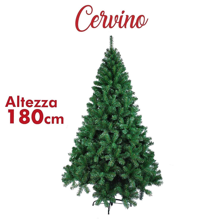 EGLEMTEK Albero di Natale Verde Cervino-M Altezza 180 cm Super Folto 650 Punte Realistico Christmas