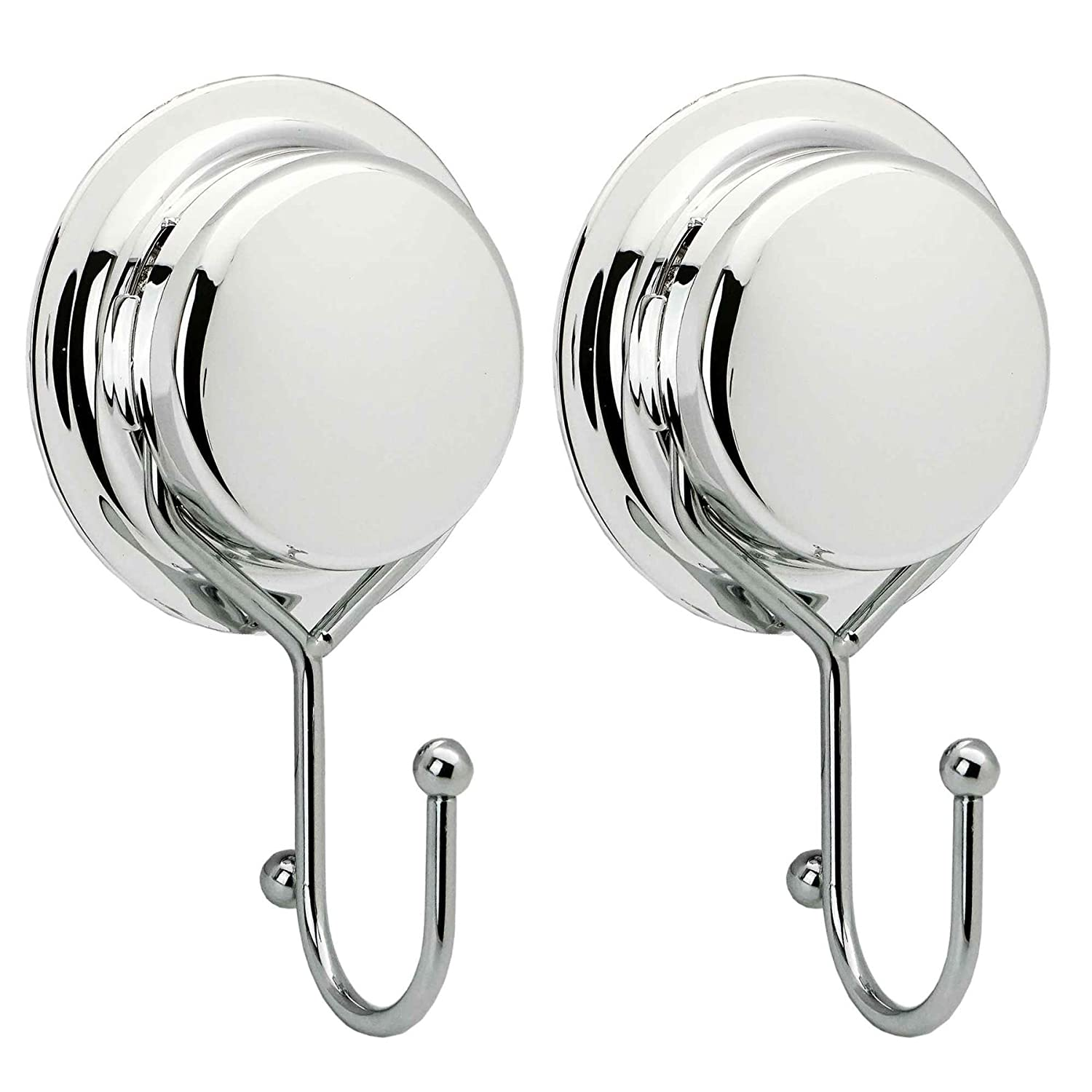 Bathroom Twist and Lock Towel Dressing Gown Vacuum Suction Cup Hanging Hook - Silver - Pack of 2 Harbour Housewares