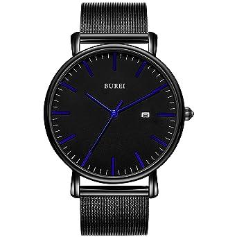 BUREI Reloj de Pulsera clásico para Hombres Estuche Ultra Fino Minimalista Dial analógico con Fecha Movimiento de Cuarzo japonés: Amazon.es: Relojes