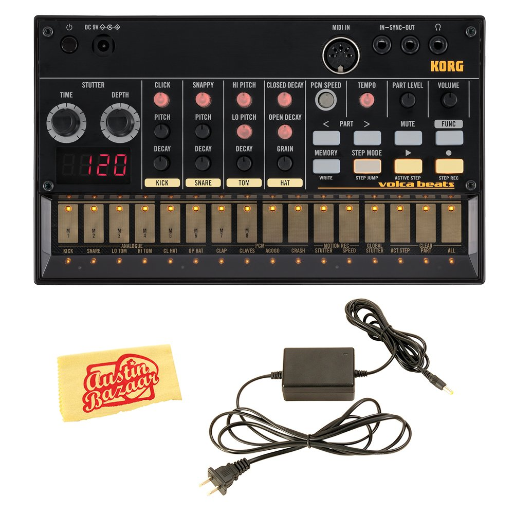 Korg Volca Beats Analogue Drum Machine Bundle with Power Supply and Austin Bazaar Polishing Cloth