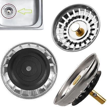 Safekom Premium Kitchen Sink Replacement Drain Waste Plug Basin Filter Strainer Drainer Stainless Steel Bathroom Shower Basket Stopper 1 Year