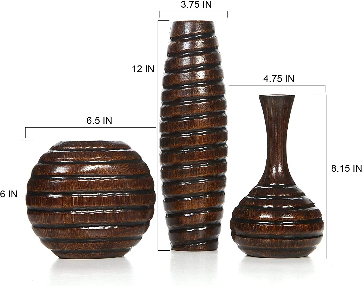 Amazon Com Hosley Set Of 3 Carved Wood Vases Small 6 Inch Medium 8 Inch And Tall 12 Inch High Ideal Gift For Wedding And Use For Home Or Office Decor Fireplace Floor