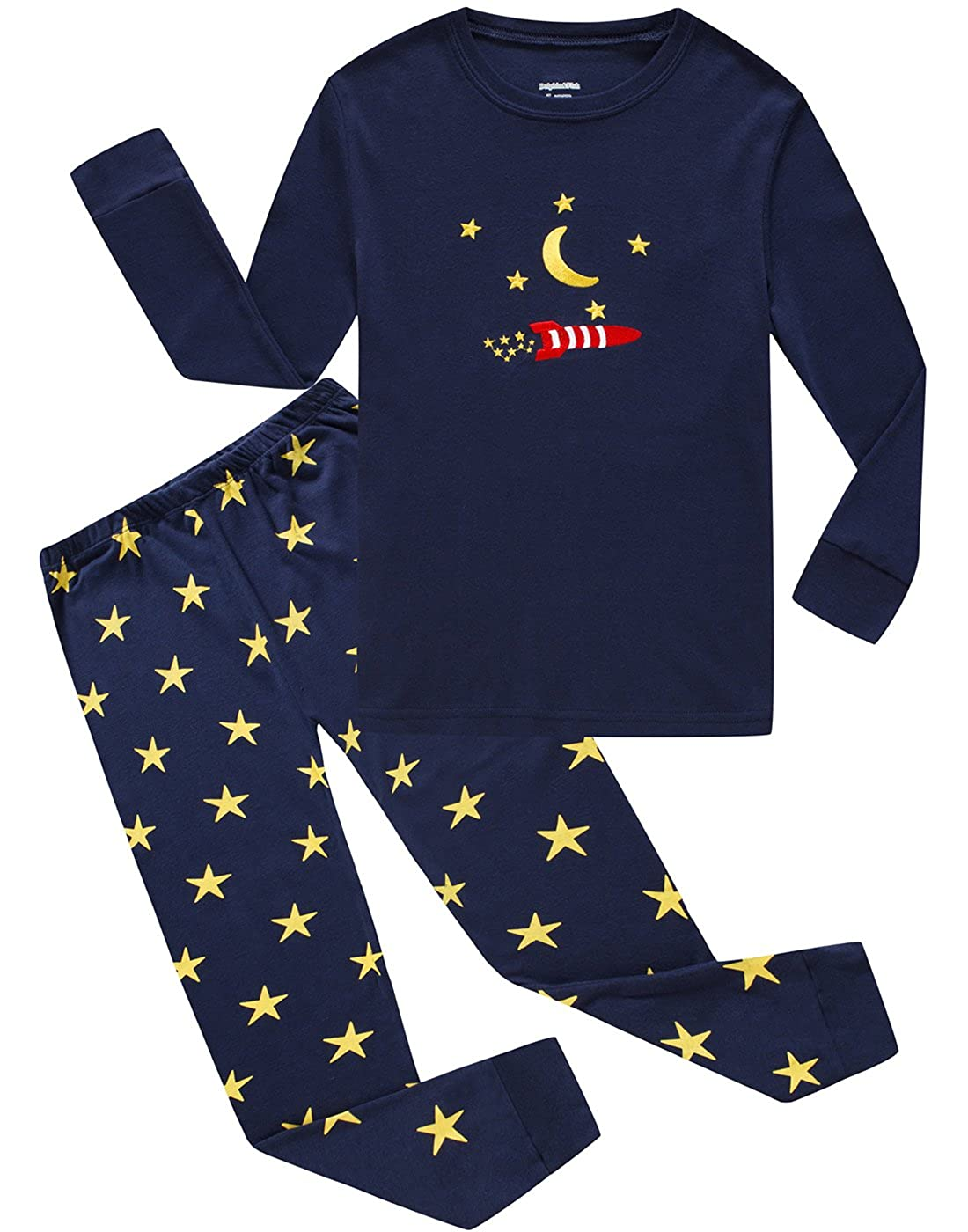 Dolphin& Fish Boys Pajamas Little Kids Pjs Sets Moon& Star Cotton Toddler Sleepwears FBA-673