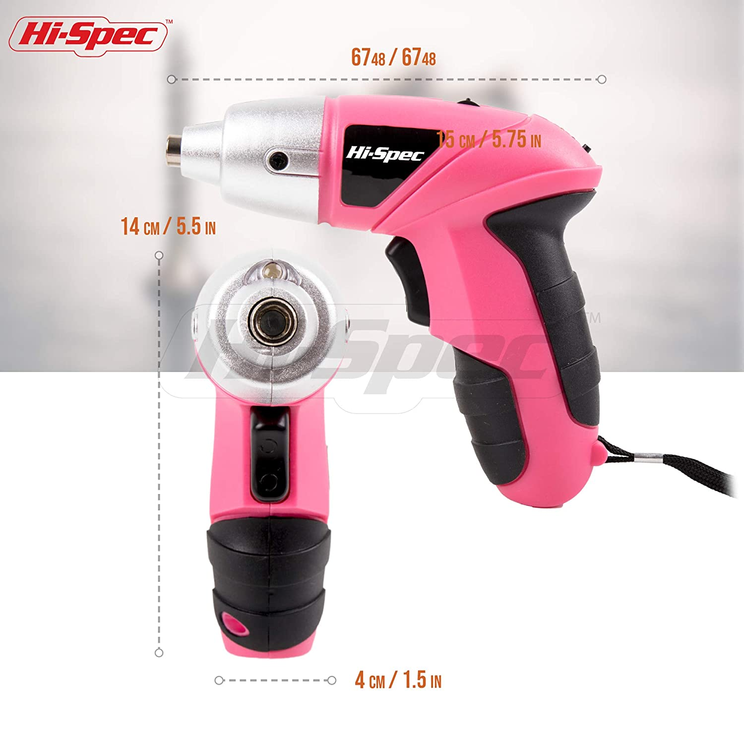Great Gift Idea Pink Power Tool for Ladies Hi-Spec 4.8V Electric Cordless Pink Screwdriver with Rechargeable 600mAh Ni-MH Battery /& 26 Piece Screwdriver and Wood Drill Bit Assortment for Home DIY