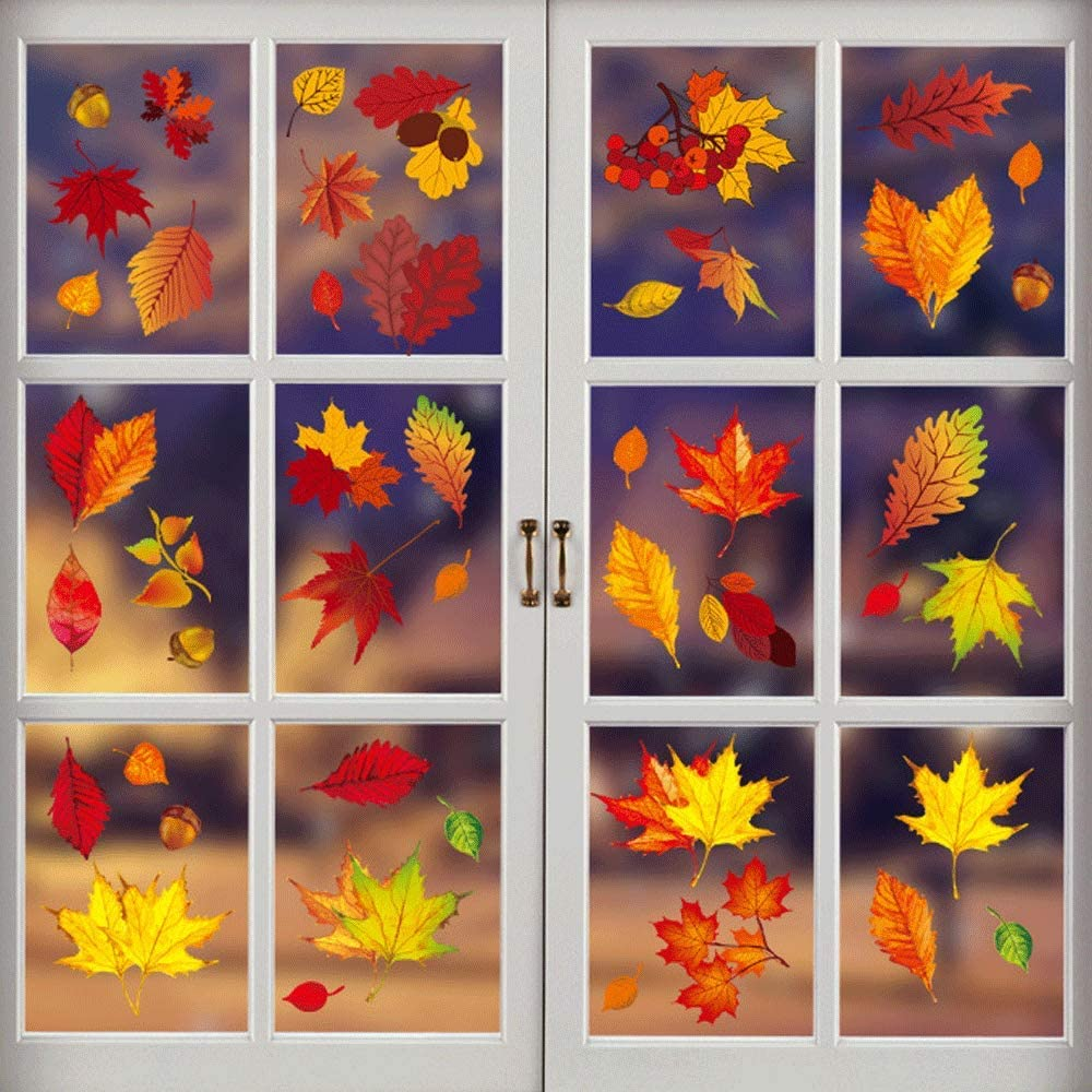 Fall Leaves Window Clings Thanksgiving Maple Decorations, Borogo Fall Autumn Leaves Autumn Decals Party Decor Ornaments - Thanksgiving Glass Window Decorations