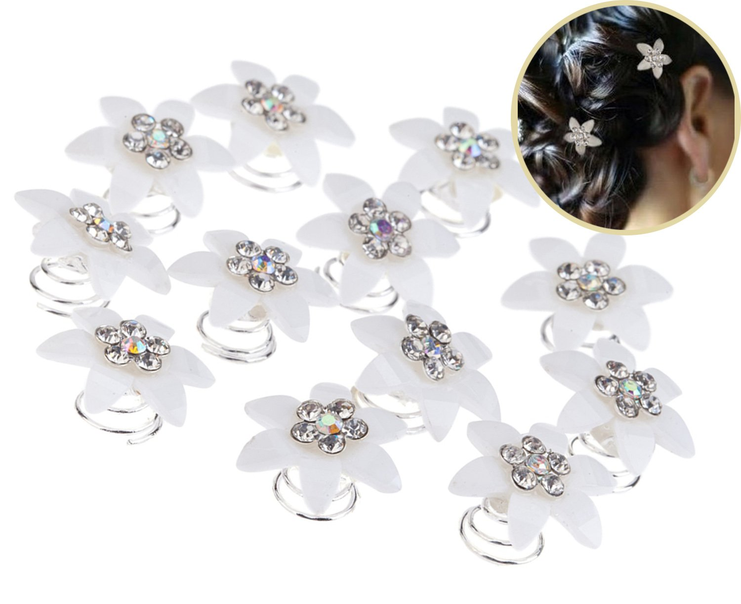 Set Kit of Gorgeous Weddings / Proms / Balls Hair Decorations With 12pcs Silver Coloured Spirals / Twists / Twisted Pins / Clips / Curlies In White Acrylic Flowers Shapes Studded With Clear Rhinestones / Crystals / Gemstones By VAGA®