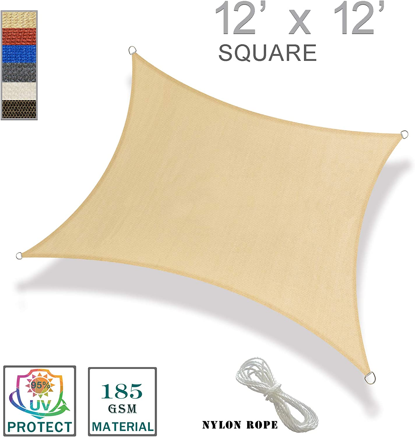 SUNNY GUARD 12' x 12' Sand Square Sun Shade Sail UV Block for Outdoor Patio Garden