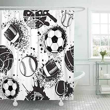 Emvency Shower Curtain Abstract For Boys Football Pattern Sport Urban With Ball Black And White Colors