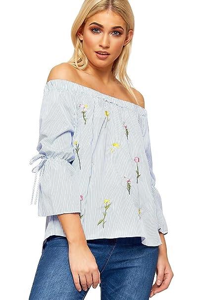 c0dabea189be1 Womens Off Shoulder Bardot Top Ladies Stripe Print Floral Short Bell Sleeve  Cute  Blue UK 8