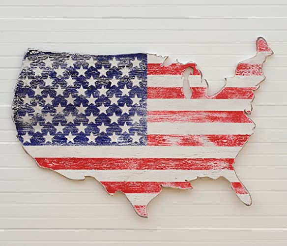 Amazoncom Usa Map Shaped Wooden American Flag Cut Out 4th Of July - American-flag-us-map