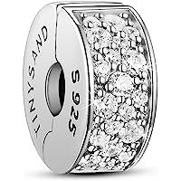 TinySand Charms de Perle Stopper Nouveaute en Pur Argent 925 Sterling,breloque Forme Cylindre Autour Mirco Zircon AAA Brillant,Compatible avec Bracelet Platine