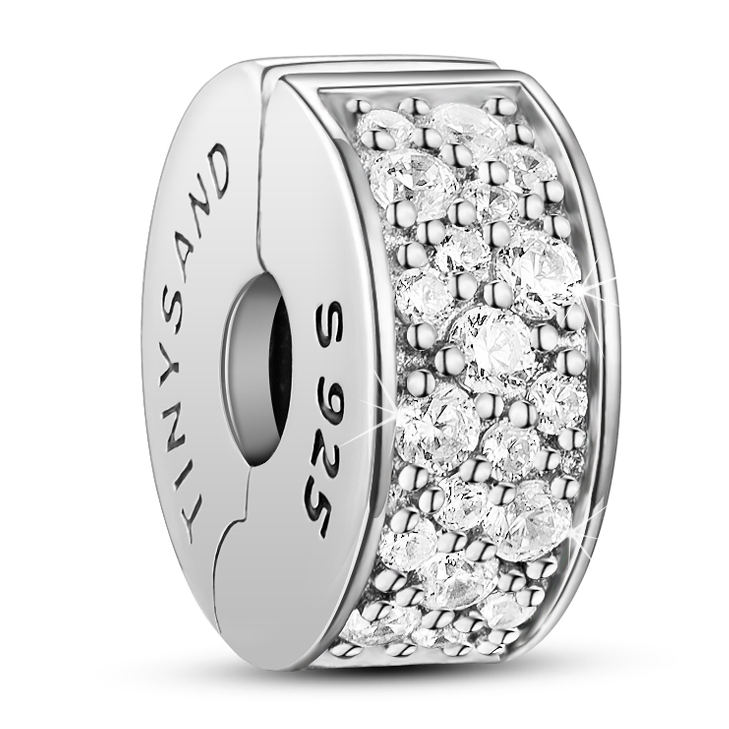 TINYSAND 925 Sterling Silver Dazzling CZ Clip Lock Stopper Spacers Charms Beads Fits European Snake Bracelet Bangle Unique Jewelry for Girls Women