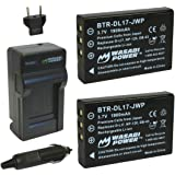 Wasabi Power Battery (2-Pack) and Charger for Toshiba PX1657, PA3791U and Toshiba Camileo H30, H31, X100