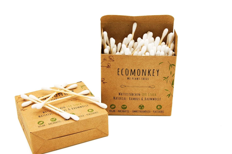 ECOMONKEY® Bamboo Cotton Buds + Vegan + Sustainable + Plastic Free + Biodegradable