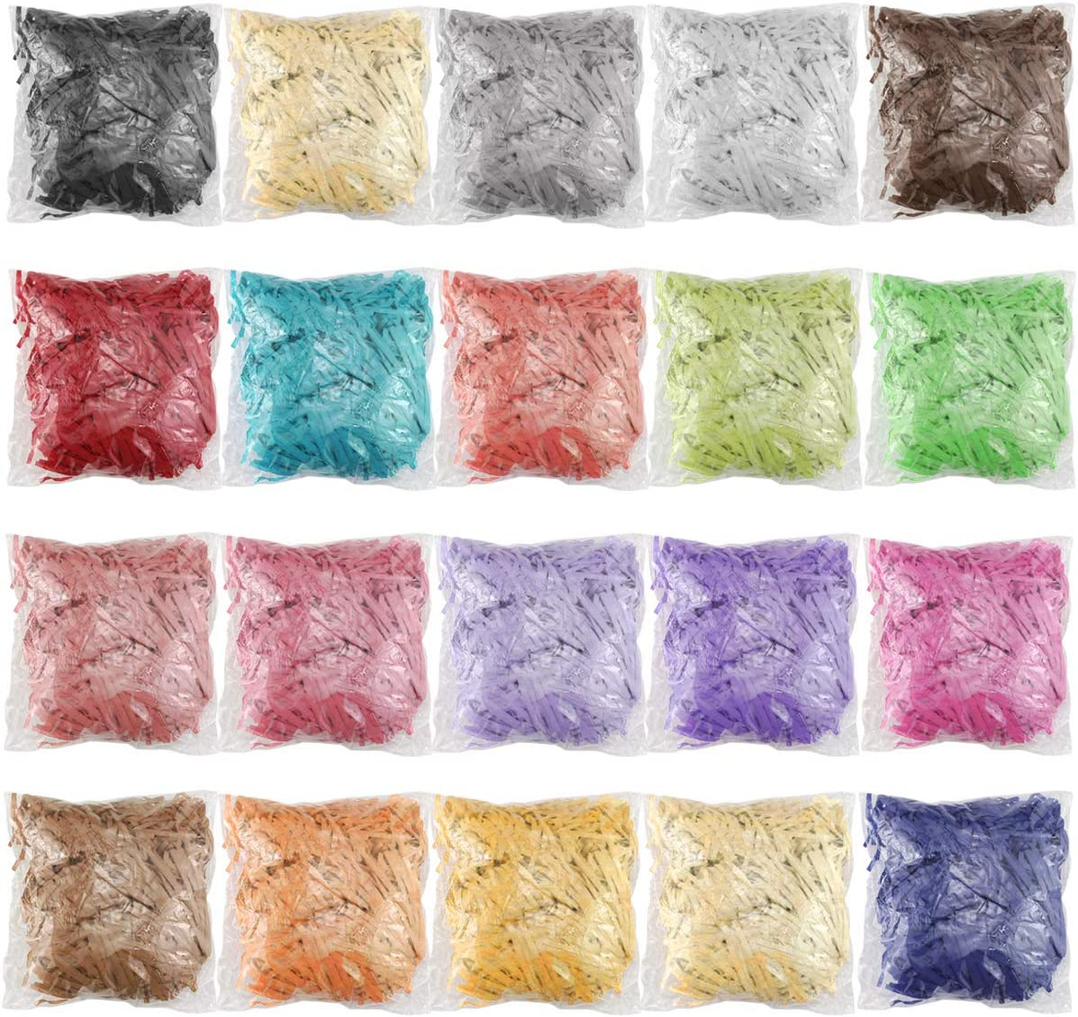 Twdrer 20Pack 14oz/400g Multicolored Raffia Paper Crinkle Confetti Shredded Shreds for Tissue Paper Gift Wrapping,Craft DIY,Basket Packaging Filling,Easter Decoration