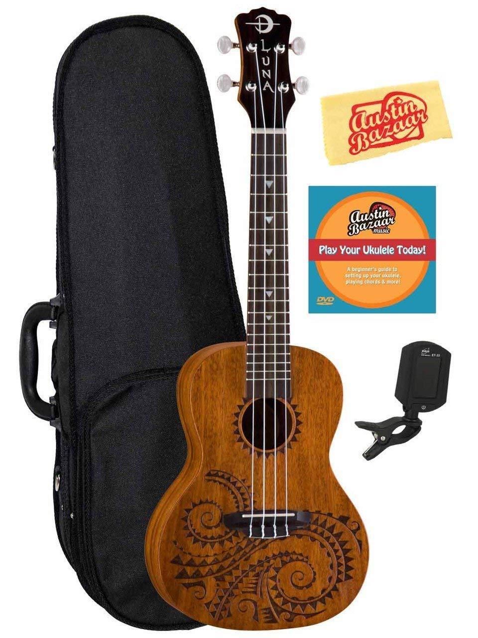 Luna Tattoo Mahogany Concert Ukulele Bundle with Hard Case, Tuner, Austin Bazaar Instructional DVD, and Polishing Cloth by Luna Guitars (Image #1)