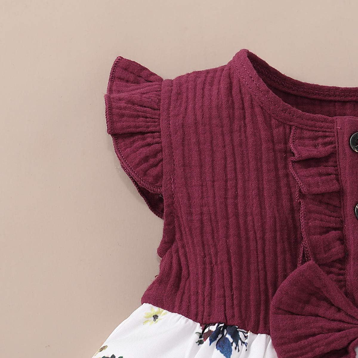 DaMohony Vestito estivo per bambina gonna rossa a maniche corte con fiocco per primavera per bambine estive