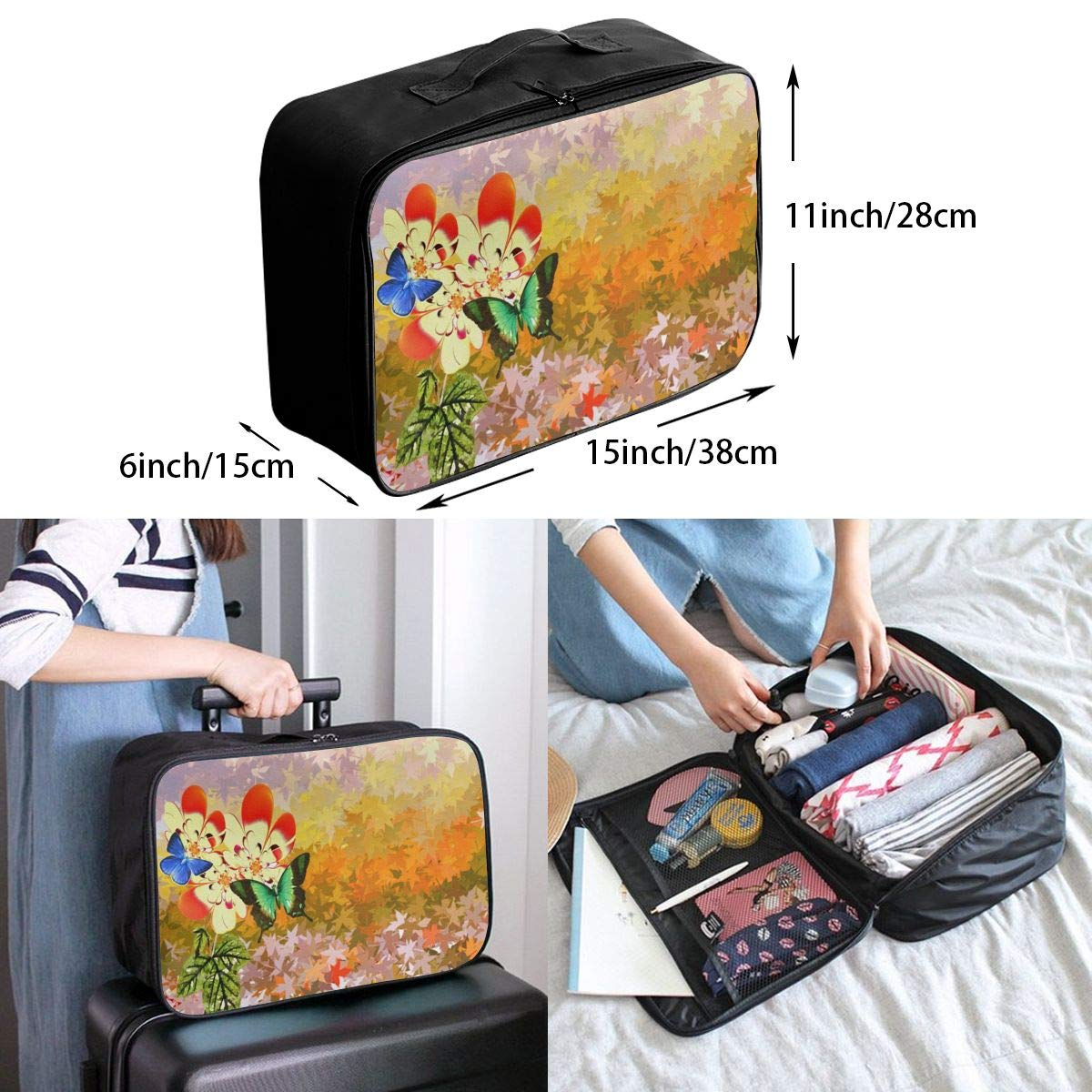 Flower Painting Art Butterfly Travel Lightweight Waterproof Foldable Storage Carry Luggage Large Capacity Portable Luggage Bag Duffel Bag