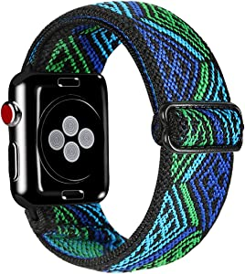 Kraftychix Adjustable Elastic Watch Band Compatible with Apple Watch 38mm/40mm/42mm/44mm,Soft Stretch Bracelet Women Strap Replacement Wristband for Iwatch Series SE/6/5/4/3/2/1… (Blue&Green Triangle, 42MM/44MM)