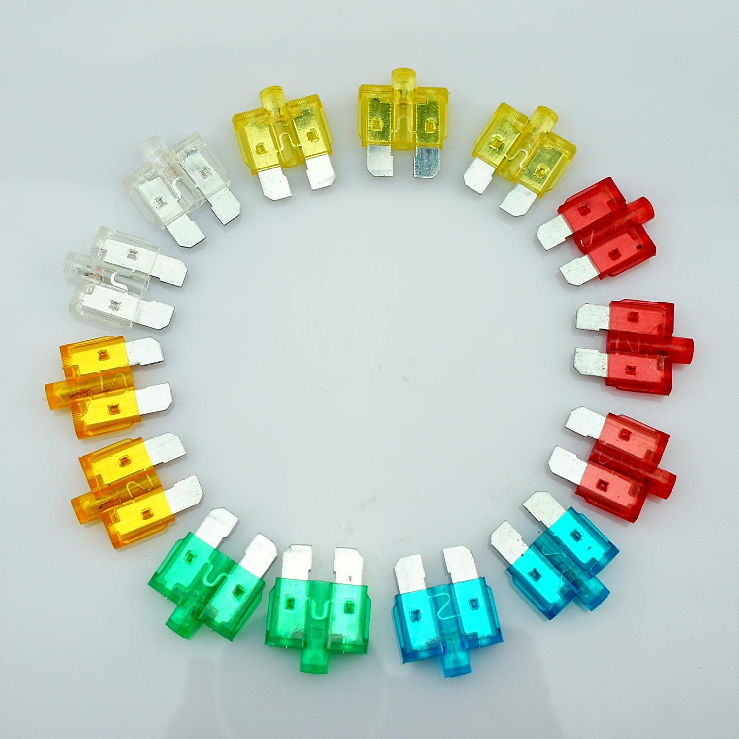 14 Car Vehicle ATU Standard Blade Fuse Assortment Kit With Status LED Glow Blow 5A 10A 15A 20A 25A 30A WLS