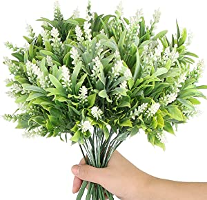 Artificial Greenery Shrubs Fake Plants Outdoor UV Resistant Plants Faux Plastic Flocked Morning Glory Flowers for Crafts Outdoors Hanging Planter Home Kitchen Garden Patio Farmhouse Decor