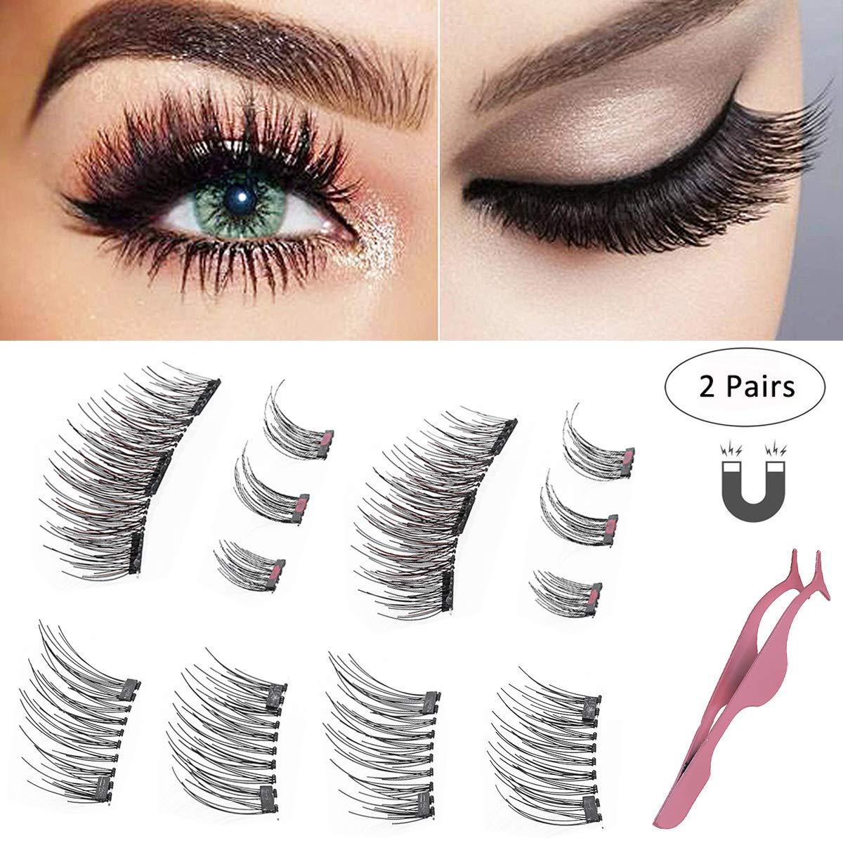 Magnetic Eyelashes Natural Full Eye Magnetic Lashes Ultra Thin Magnet Eyelashes 3D 3 Magnet fake lashes (2 Pairs) ASUKALA