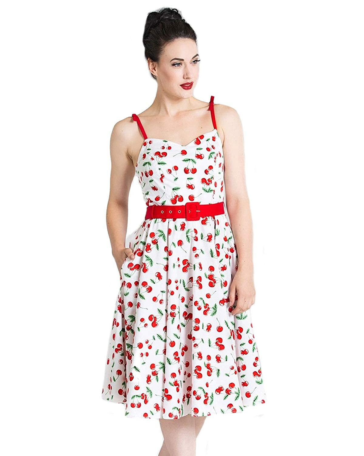 Pin Up Dresses | Pinup Clothing & Fashion Hell Bunny Womens Sweetie Cherry Print Pinup Style Sleeveless Belted A-Line Dress - Regular & Plus Size $68.33 AT vintagedancer.com