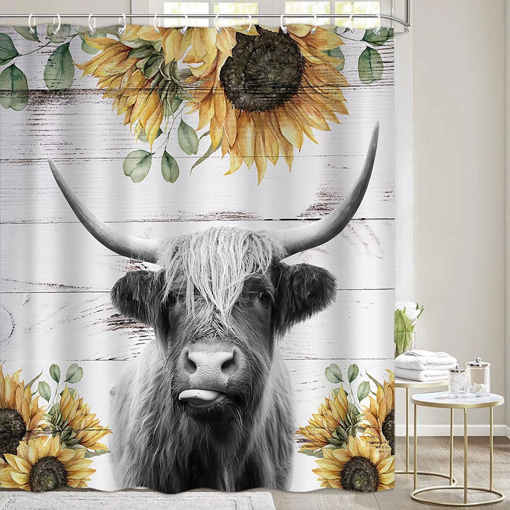 Highland Cow Shower Curtains Sets for Bathroom, Funny Rustic Farmhouse Cattle Bull Farm Animal with Sunflower on Rustic Wooden Fabric Shower Curtains, Restroom Decor Accessories with Hooks(72X72)