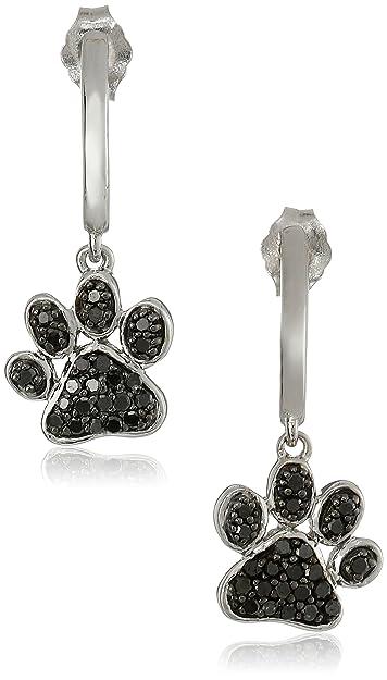 c5ea96fe7 Amazon.com: Sterling Silver Black Diamond Dog Paw Earrings (3/8 cttw):  Dangle Earrings: Jewelry