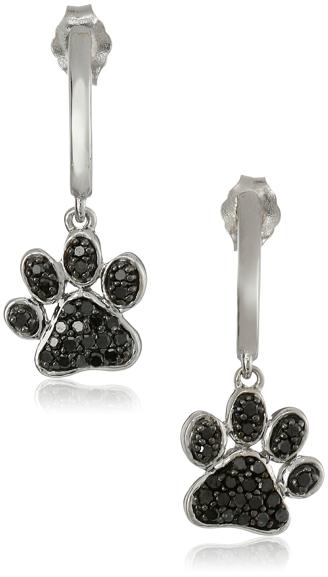Sterling Silver Black Diamond Dog Paw Earrings (3/8 cttw)