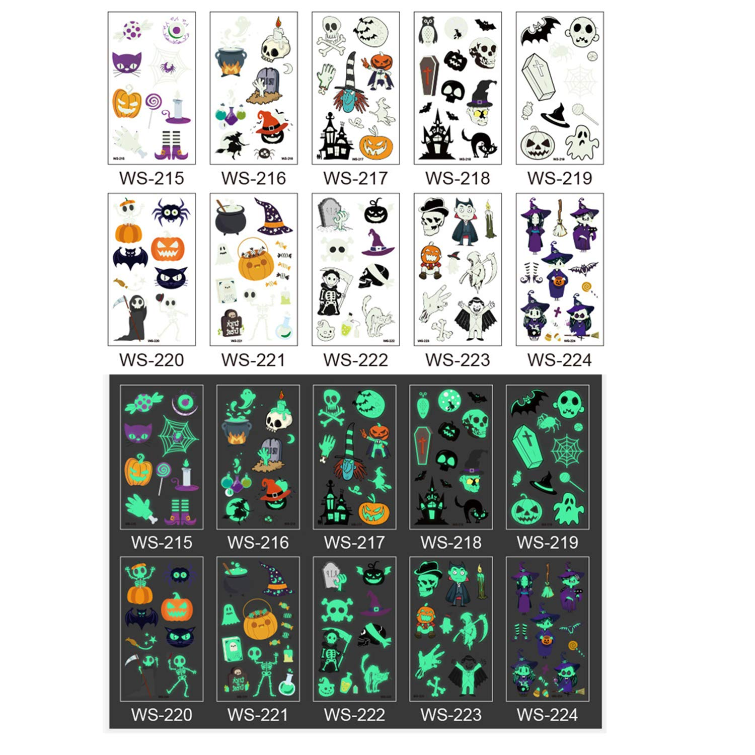 Glow In Dark Temporary Tattoo Stickers, Luminous Fluorescent Tattoos Waterproof Fake Tattoo Body Art Water Transfer Stickers Fun For Party Festival Club Party Decoration (10 Sheets)