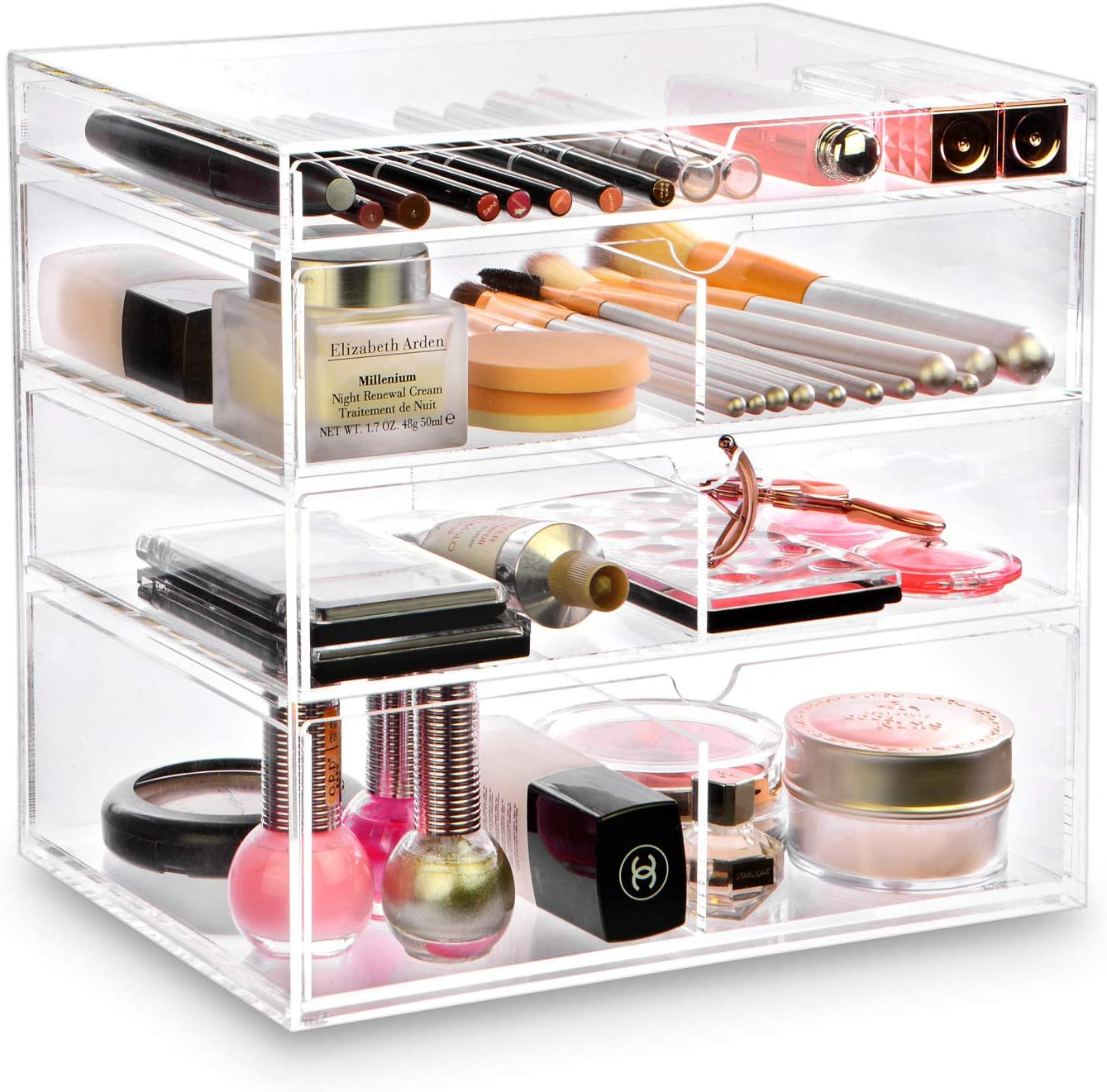 Ikee Design Acrylic Cosmetics Makeup and Jewelry Storage Case Display - Saving, Stylish Acrylic Bathroom Case Great for Lipstick, Nail Polish, Brushes, Jewelry and More (Clear)