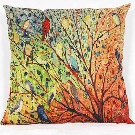 Fundas de Cojínes, Colorido Otoño Flor Árbol de Algodón Throw Pillow Case Funda de Almohada para Cojín Decoración del hogar Sofa Modernos 45x45 cm