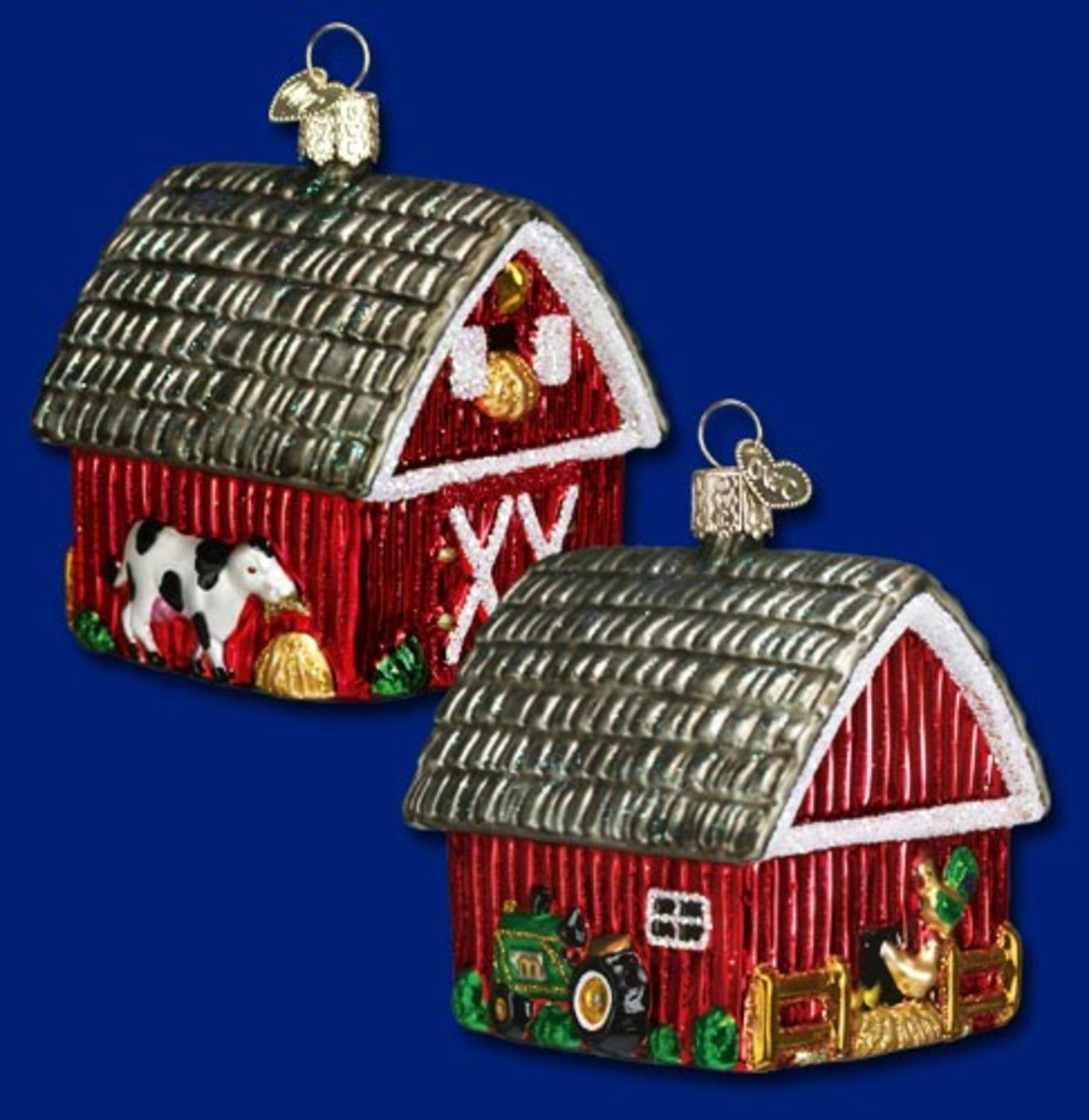 Old World Christmas Barn Farm Animals & Tractor Glass Ornament #20014