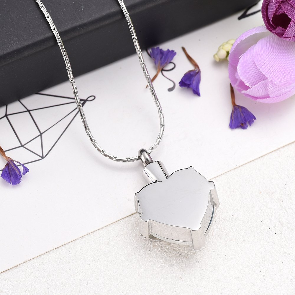 Always In My heart Crystal Necklace Stainless Steel Cremation Ashes Pendant Memorial Cremation Jewelry by constanlife (Image #3)