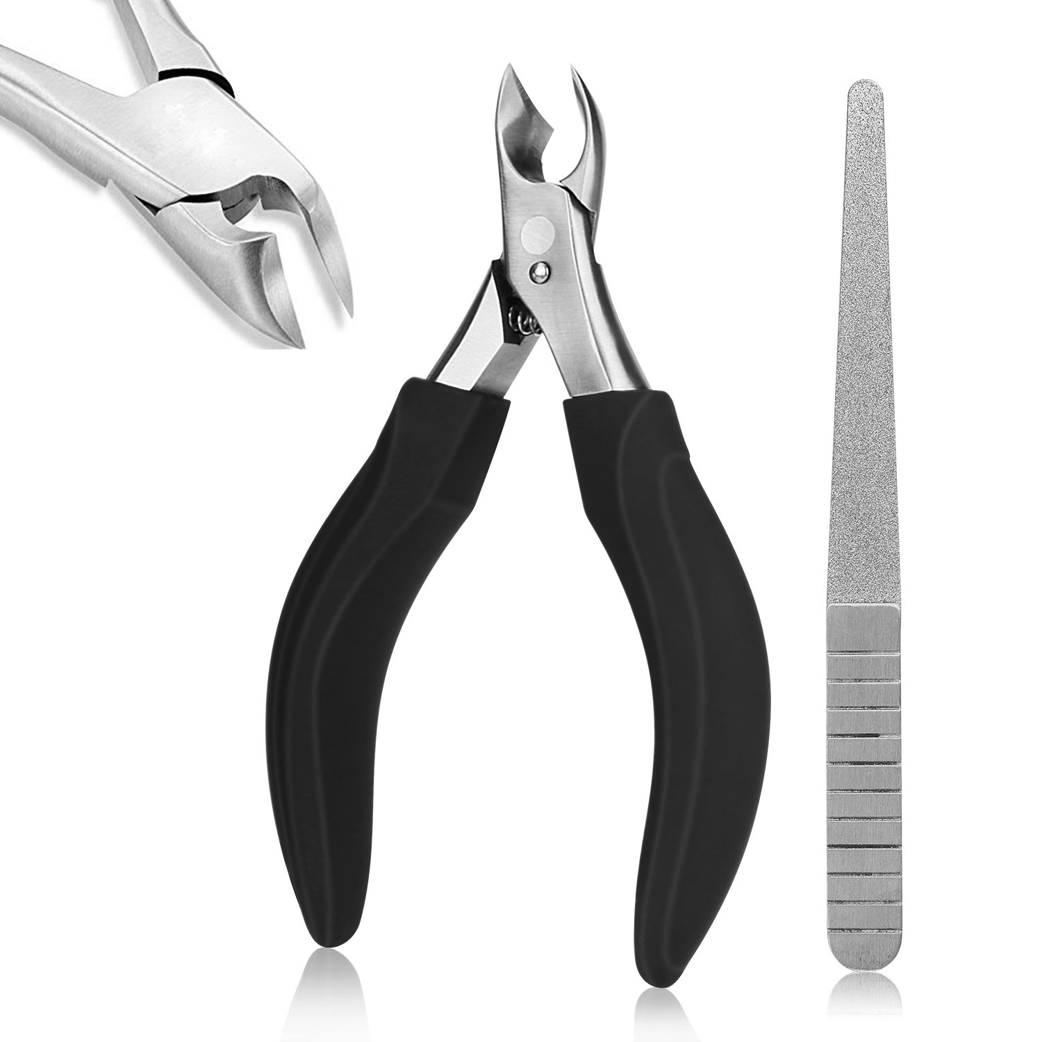 Doubtless Bay Nail Clippers With File for Thick or Ingrown Toenails Nail Cutters Sharp Nail Cutters Large Grip Toenail Scissors