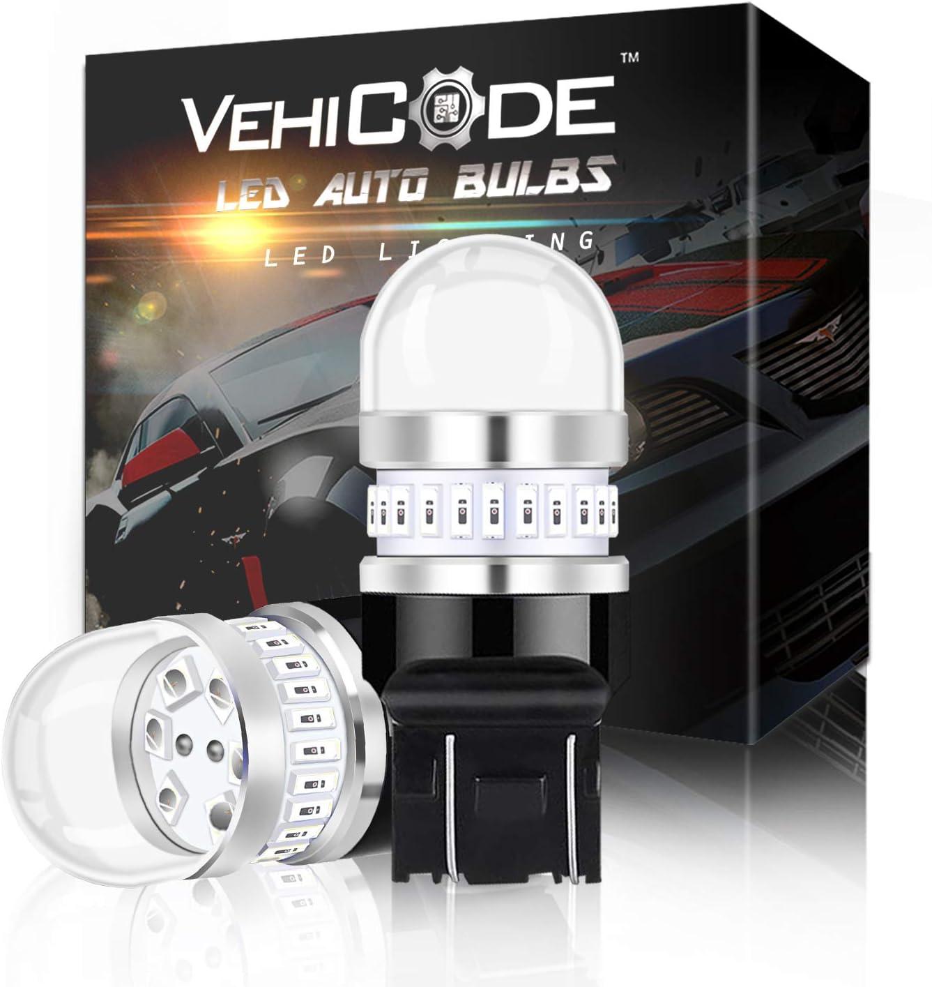 VehiCode 1156 Red LED Strobe Brake Light Bulb Kit 2 Pack 5-Times Warning Flash 7506 1141 93 P21W BA15S Rear Tail Brake Stop Light Lamp Replacement for Car Harley Motorcycle Emergency Caution
