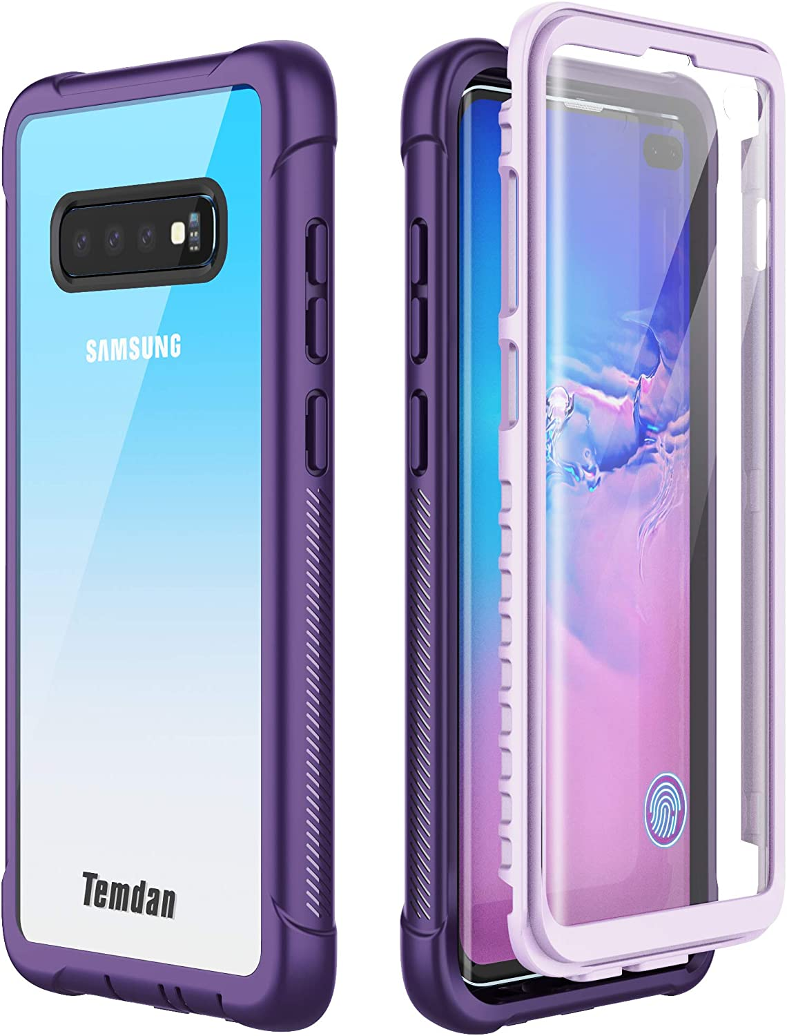 Samsung Galaxy S10 Plus Case,Temdan Built-in Screen Protector with Fingerprint Hole Full Body Protect Support Wireless Charging,Heavy Duty Dropproof Case for Samsung Galaxy S10 Plus 6.4 inch (Purple)