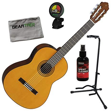 Yamaha CGX102 - Guitarra eléctrica acústica natural (con soporte, pulido, gamuza, afinador