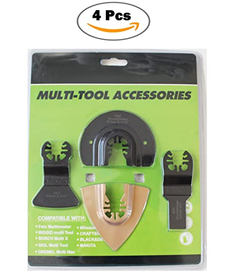 4 Pcs Oscillating Multitool Quick Release Saw Blades, Oscillating Tool Blades Bi-metal/