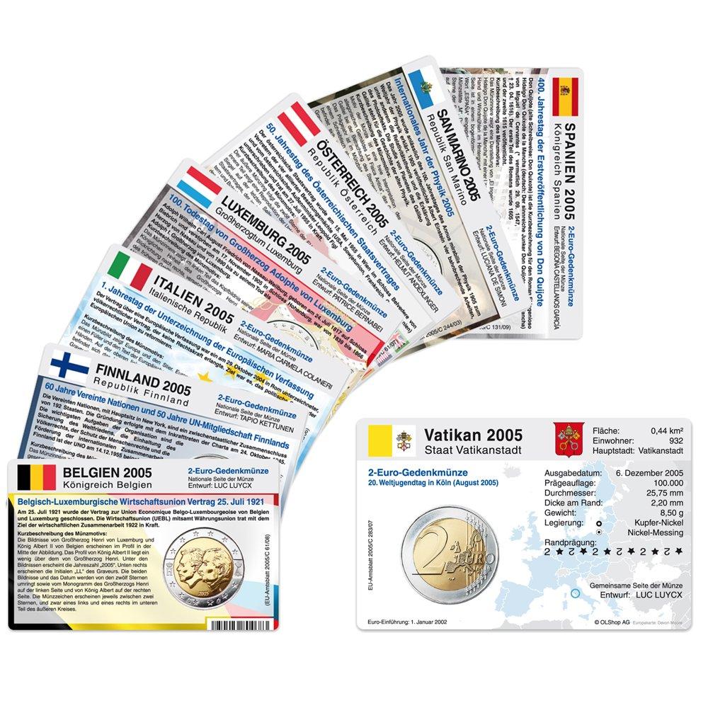 8 Münzkarten Ohne Münze 8 Länder Von 2005 Für 2 Euro Gedenkmünzen