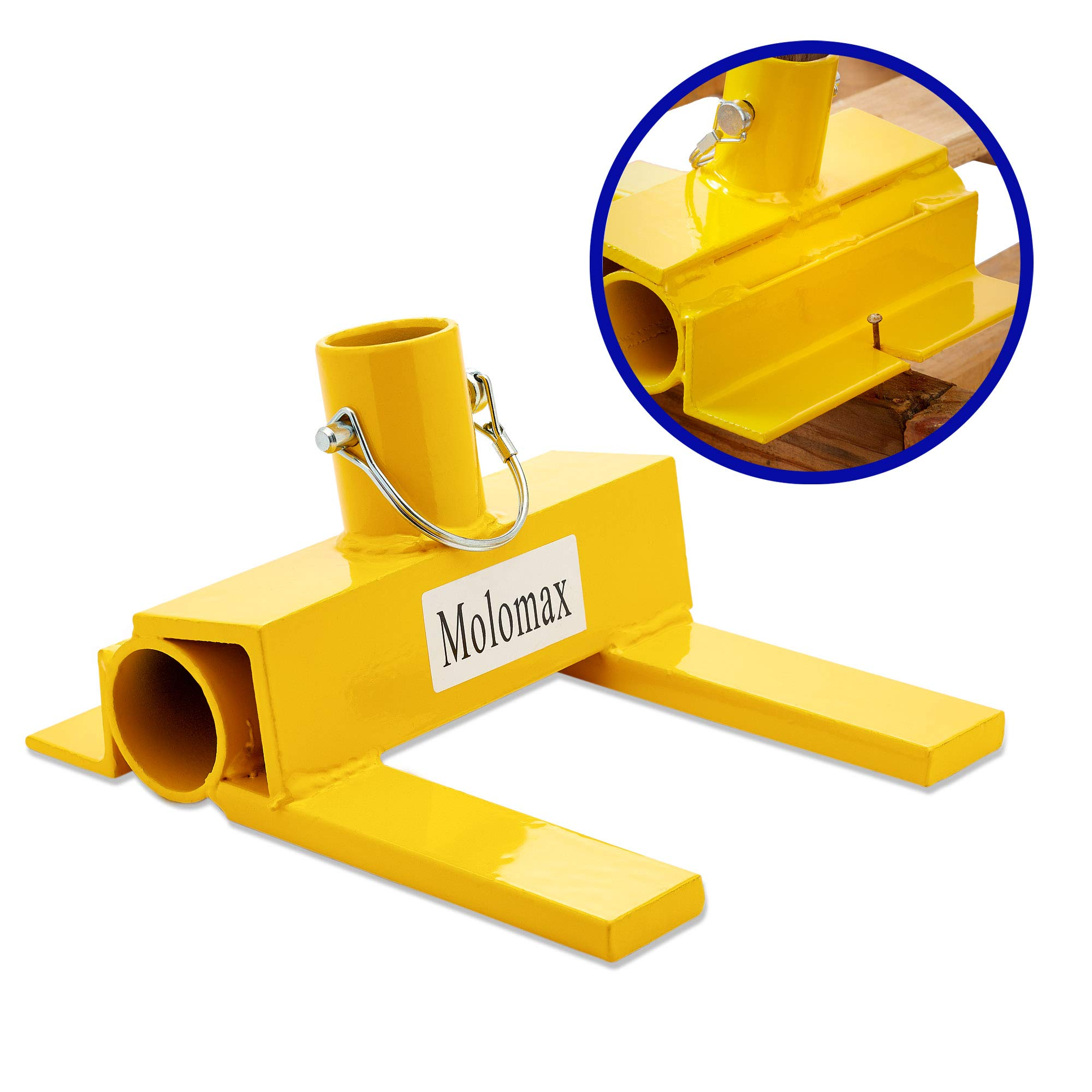 Pallet Buster with Nail Removal | Deck Wrecker - Best Wrecking Bar for Breaking Pallets - Steel Head - 2 Secure Locking Pins - Yellow - Molomax